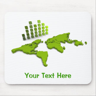 Mapa del mundo verde Mousepad