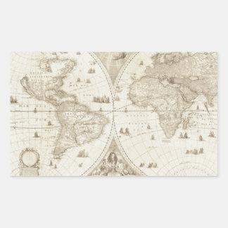 Mapa del mundo viejo, antiguo pegatina rectangular