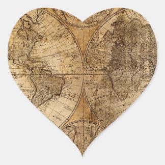 Mapa del mundo viejo del vintage pegatina en forma de corazón