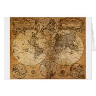 Mapa del mundo viejo del vintage tarjeta de felicitación