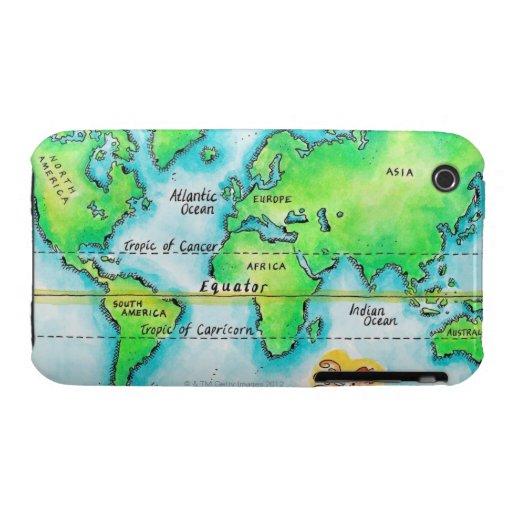 Mapa del mundo y del ecuador Case-Mate iPhone 3 cárcasa
