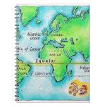 Mapa del mundo y del ecuador libreta