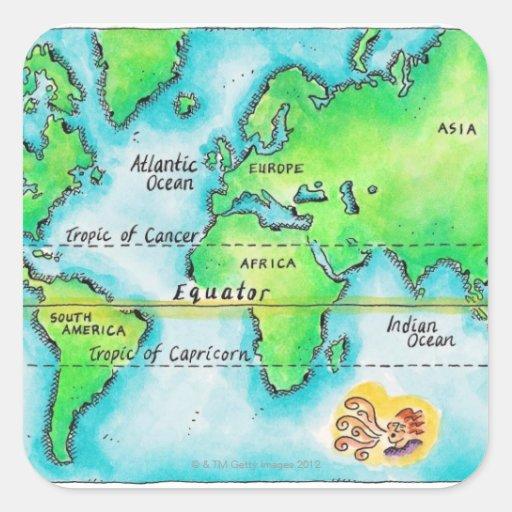 Mapa del mundo y del ecuador pegatina cuadradas