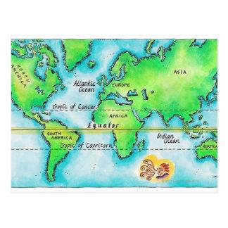 Mapa del mundo y del ecuador tarjeta postal