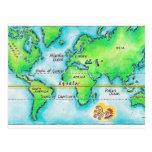 Mapa del mundo y del ecuador tarjetas postales