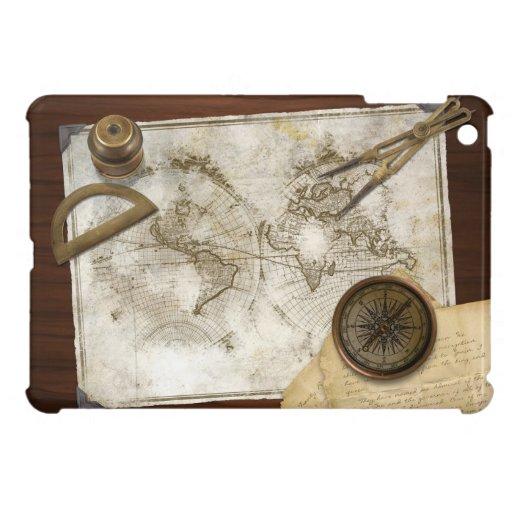 Mapa del mundo y herramientas del vintage