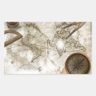 Mapa del mundo y herramientas del vintage rectangular pegatinas