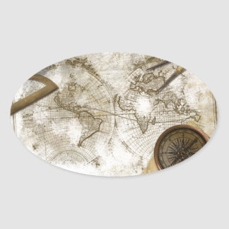 Mapa del mundo y herramientas del vintage calcomanías de ovales personalizadas