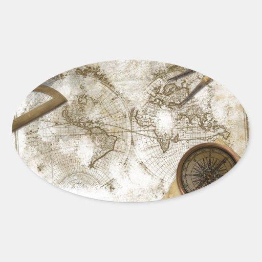 Mapa del mundo y herramientas del vintage pegatina ovalada