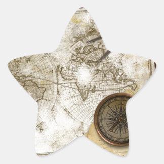 Mapa del mundo y herramientas del vintage calcomania forma de estrella personalizada