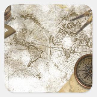 Mapa del mundo y herramientas del vintage colcomanias cuadradas personalizadas