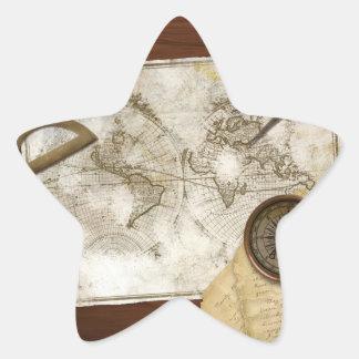 Mapa del mundo y herramientas del vintage pegatinas forma de estrellaes personalizadas