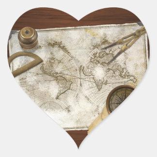Mapa del mundo y herramientas del vintage pegatina de corazón