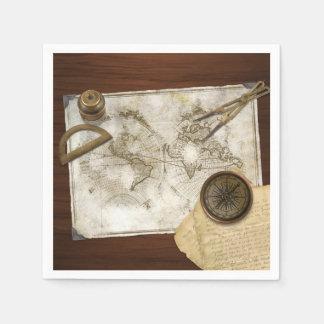 Mapa del mundo y herramientas del vintage servilleta desechable