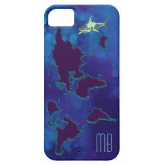 mapa del mundo y tiburón personalizados iPhone 5 carcasa