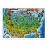 Mapa del navidad de los E.E.U.U. Tarjetas Postales