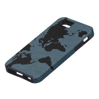 mapa del negro del mundo - cuero iPhone 5 Case-Mate cárcasas