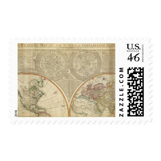 Mapa del norte del hemisferio del mundo sellos