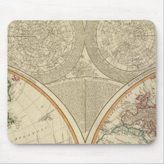 Mapa del norte del hemisferio del mundo tapetes de ratón