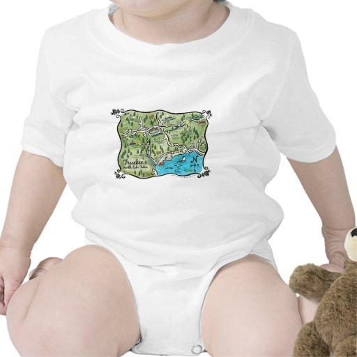 Mapa del norte del lago Tahoe Traje De Bebé