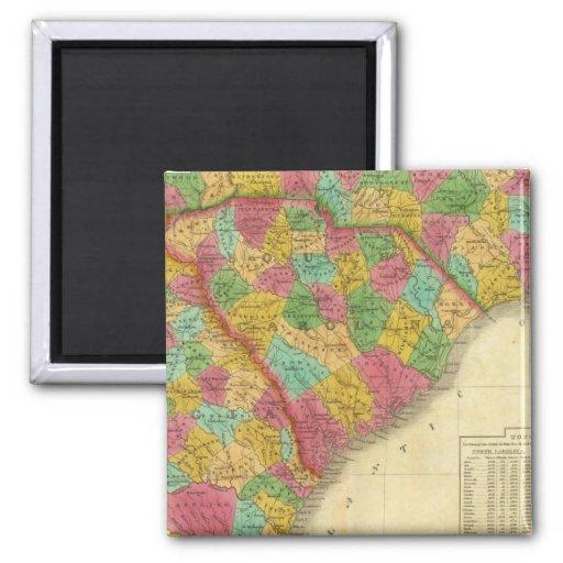 Mapa del norte y Carolina del Sur, y Georgia Imán Cuadrado