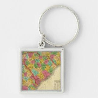 Mapa del norte y Carolina del Sur, y Georgia Llavero Cuadrado Plateado