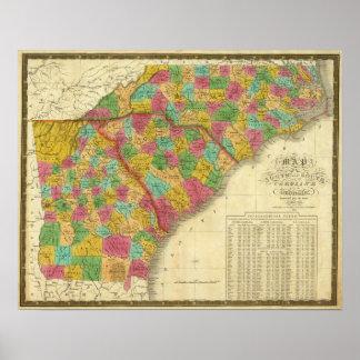 Mapa del norte y Carolina del Sur, y Georgia Póster