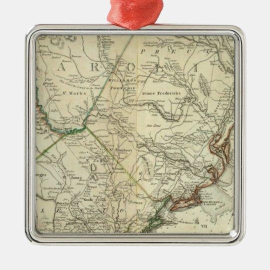 Mapa del norte y de Carolina del Sur Adorno Navideño Cuadrado De Metal