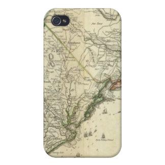 Mapa del norte y de Carolina del Sur iPhone 4 Fundas