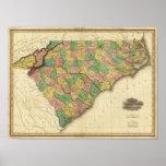 Mapa del norte y de Carolina del Sur Poster