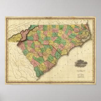 Mapa del norte y de Carolina del Sur Póster