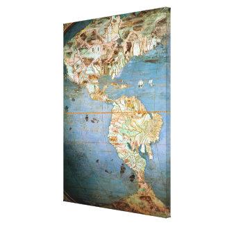 Mapa del norte y de Suramérica Impresión En Lona