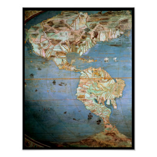 Mapa del norte y de Suramérica Poster