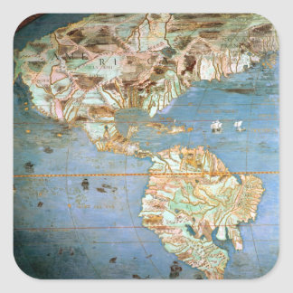 Mapa del norte y de Suramérica Calcomania Cuadradas Personalizada