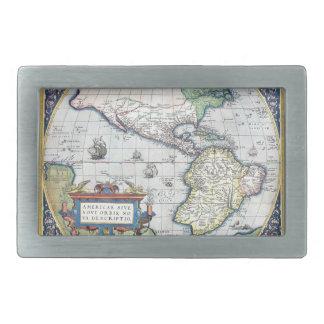 Mapa del nuevo mundo 1570 de Américas Hebilla Cinturón Rectangular
