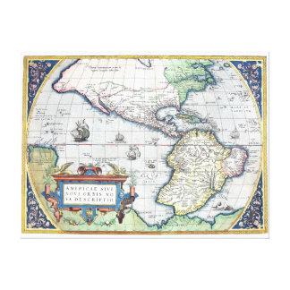 Mapa del nuevo mundo 1570 de Américas Lona Envuelta Para Galerias