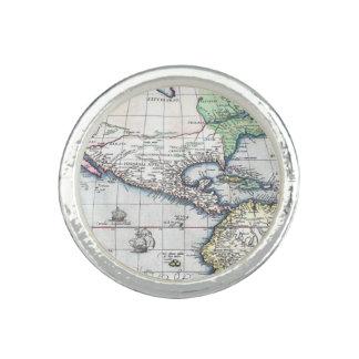 Mapa del nuevo mundo 1570 de Américas Anillos Con Foto