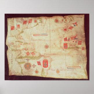 Mapa del Océano Atlántico, c.1550 Poster