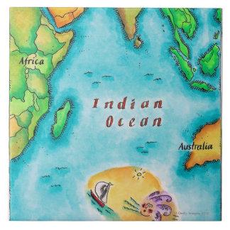 Mapa del Océano Índico Azulejo Cuadrado Grande