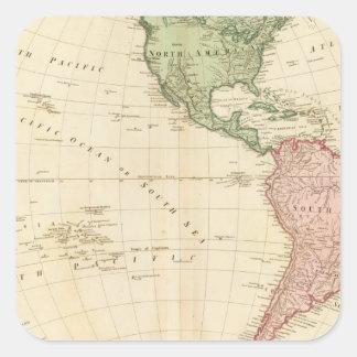 Mapa del oeste del hemisferio pegatina cuadrada