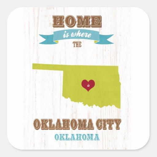 Mapa del Oklahoma City, Oklahoma - casero es donde Pegatina Cuadrada