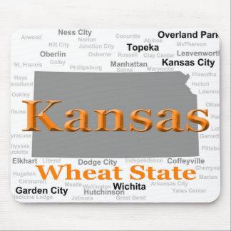 Mapa del orgullo del estado de Kansas Tapetes De Ratones