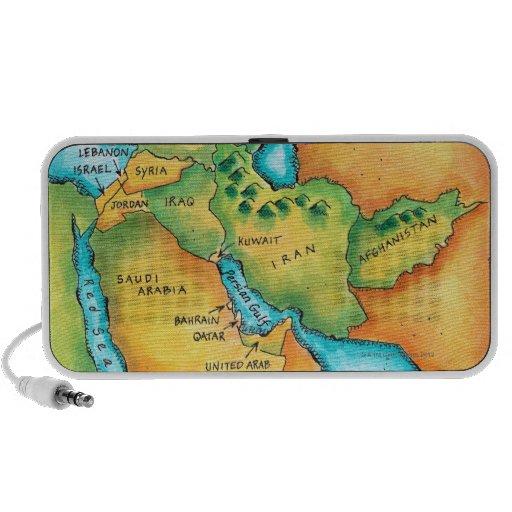 Mapa del Oriente Medio iPhone Altavoz