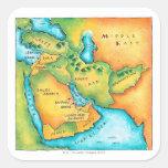 Mapa del Oriente Medio Pegatinas Cuadradas