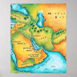 Mapa del Oriente Medio Póster