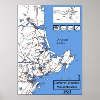 Mapa del país de Lovecraft Póster