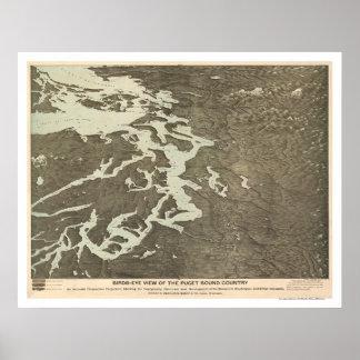 Mapa del país de Puget Sound en Washington 1891 Póster