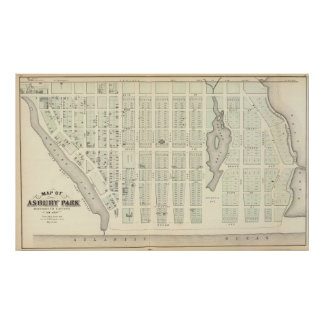 Mapa del parque de Asbury, el condado de Monmouth, Posters