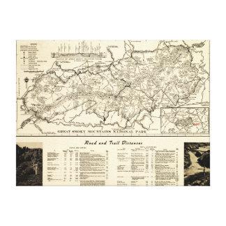 Mapa del parque nacional de Great Smoky Mountains Lona Envuelta Para Galerías