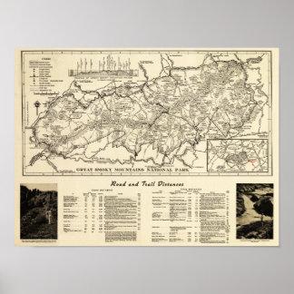 Mapa del parque nacional de Great Smoky Mountains Impresiones